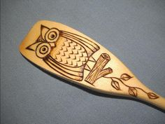 Wooden Spoon with Owl Wood Burned pyrography