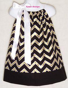 Saints Pillowcase Dress / Black & Gold / Fleur by KarriesBoutique