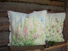 Купить Льняные подушечки с росписью Иван-чай и Клевер... - иван-чай клевер, подушка льняная