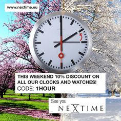 To enjoy the extra hour, we offer 10% discount on all our clocks and watches! www.nextimestore.com, use the voucher: 1HOUR Clocks, Fun Stuff, Coding, Ads, Watches, Fun Things, Wristwatches, Clock