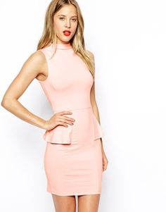 d1862b9c054 Sleeveless Dress with High Neck and Peplum Asos Dress