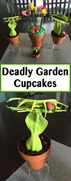 Give your cupcakes a twist with these dangerous little decorations! Perfect for springtime, these deadly venus fly traps bring a taunting appeal to traditional flower decorations. You'll be sure to make heads turn with these brain-eating fly trap cupcakes!