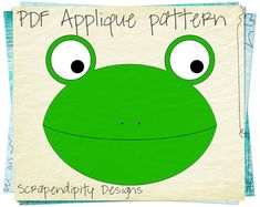 Frog Clothing Applique Template  Animal by ScrapendipityDesigns, $2.50