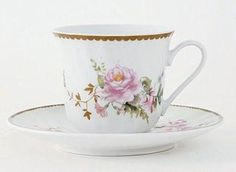 Timeless Rose Teacups Includes 6 Tea Cups and 6 Saucers at Cheap Price