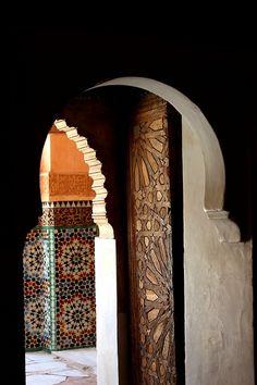 Gorgeous Moroccan door at the Medresa Ali Ben Youssef in Marrakesh.