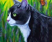 Original Art Tuxedo Cat in Lavender Garden with Butterflies Painting EBSQ