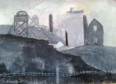 Caroline McAdam Clark RWS, Tin Mine, Cornwall, gouache & pencil