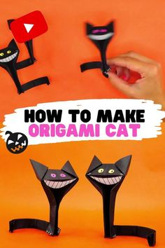 Hey Crafties! Today you will learn how to make origami cat for Halloween. Actually you can make it just like a usual origami cat, using any type of colours you want, but since Halloween Origami Cat, Cute Origami, How To Make Origami, Useful Origami, Paper Crafts For Kids, Crafts To Make, Easy Crafts, Card Making Tutorials, Craft Tutorials