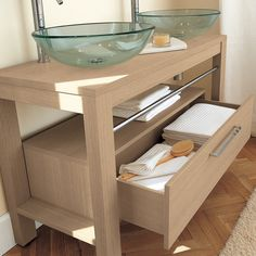 Adatto Casa 1200 Vanity Table Light Oak with Drawer - glass countertop basins and chrome taps