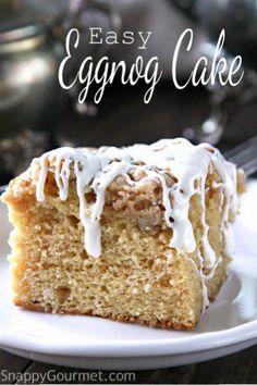 Easy Eggnog Cake - an easy Christmas dessert or brunch recipe!