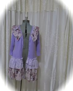 Purple Lilac Sweater, shabby n chic lace embellished, floral roses victorian romantic, refashioned clothing, MEDIUM Remake Clothes, Diy Clothes, Altered Couture, Romantic Lace, Purple Sweater, Purple Lilac, Lace Collar, Refashioned Clothing, Pullover