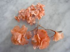 Vintage 1950's millinery flower 4 pc assorted peach color - carnations + tiny