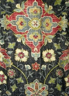 Bettina 949 Cindersmoke - Vintage floral rug pattern printed on linen fabric from Covington fabrics. Perfect for light use upholstery fabric, bedding fabric, window treatments, or pillow covers.