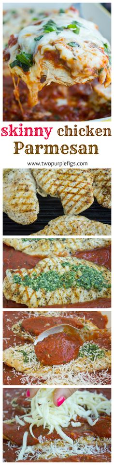 Healthy Grilled Chicken Parmesan recipe in step by step, made QUICK, EASY and SKINNY! A crowd pleasing comfort chicken dinner in minutes! Get this recipe now and make it forever! www.twopurplefigs.com