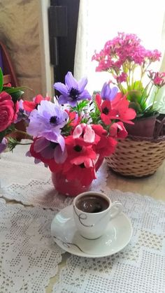 Coffee Drinks, Drinking Coffee, Flowers, Decor, Fruits And Vegetables, Decoration, Decorating, Royal Icing Flowers, Flower