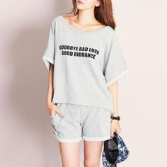 Women Summer Hot Sale Clothes Shorts sets Batwing Sleeve Pajamas Female  Letter Solid Pants  Affiliate 3a213031535