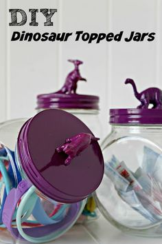 DIY Dinosaur Topped Jars make really cute kids bathroom decor. Fill them up with adhesive bandages, hair accessories, jewelry, cotton swabs - whatever your kids (or you!) use regularly #CraftedExperience ad