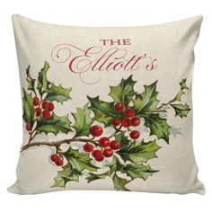 Holiday Pillow Cover Christmas Winter Personalized Holly Berry French Style Burlap Cotton Throw Pillow CH-161