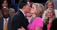 341 Slideshow: Scenes from the Hofstra debate. Large. Caption: Mitt Romney kisses his wife Ann following the second presidential debate. 10/16/12