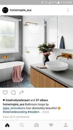 Concrete bench and grey subway tiles