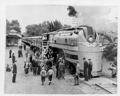 "The Milwaukee Road's train ""Hiawatha"" at the Minnehaha Falls station with ""Princess Depot"" 1930s"