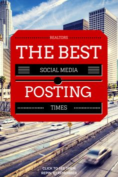 Are you wondering what the best social media posting times for your real estate company are? Check out the data driven recommendations for: Pinterest, G+, Instagram, LinkedIn, Twitter, and Facebook. If you post at all, you'll want to check out these times.  Besides for your headline, the time you post is the largest driver in how often your status is seen. Click to see. Repin to remember  #marketing #realestate