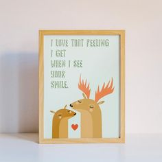 Bambi and Deer - Printable Art #instantdownload #printableart #print #digitalfile #walldecor #bambianddeer #ikeasize #kidsroom #nursery #greenandbrown #smilefeelinglove #babyshower #redheart