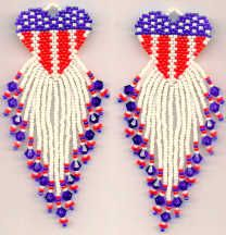 Star Spangled Heart Earrings Pattern - Item Number 15743 at Bead-Patterns.com
