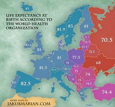 Esperanza de vida en los países de Europa
