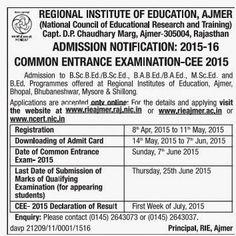 Bonala Kondal: R I E Ajmer Common Entrance Examination - CEE 2015...