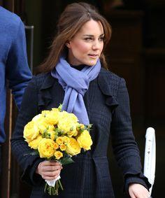 Kate Middleton wearing a powder blue scarf around her neck