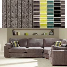 House of Fraser linea cooper large chunky waffle corner sofa in davinci slate carnaby block lime fabric RRP £1559 - please ask for our prices and more details