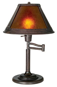 Mission Bronze With Mica Shade Swing Arm Table Lamp -