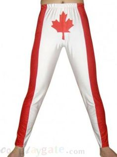 Red White Maple Spandex Pants