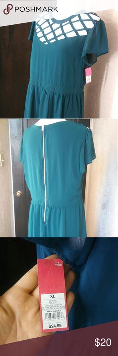 Xhilaration Teal Dress w/ Lattice Detail Neckline *BNWT* Xhilaration Midi Dress with Lattice Detail Neckline. Teal mid length A line dress, rose gold exposed zipper, and sheer sleeves (nothing else is sheer). Size XL Xhilaration Dresses Midi
