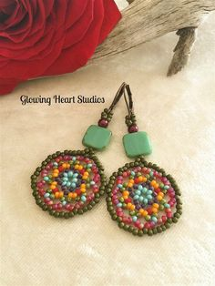 Moroccan Earrings  beaded green turquoise by GlowingHeartStudios