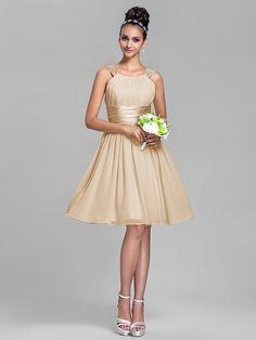 retour longueur demoiselle d'honneur robe de mousseline genou et de la colonne de la gaine de satin stretch bretelles robe - USD $ 69.99