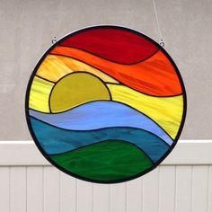 Stained Glass Rainbow Sunset Suncatcher by FoxStainedGlass on Etsy … Stained Glass Suncatchers, Faux Stained Glass, Stained Glass Designs, Stained Glass Panels, Stained Glass Projects, Stained Glass Patterns, Sea Glass Art, Glass Wall Art, Mosaic Glass