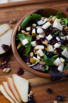 Easy and delicious Cranberry, Blueberry, Walnut, and Pear Winter Salad