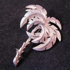 Palm Tree Brooch Silver Plated 1960s by BrightEyesTreasures, $14.00