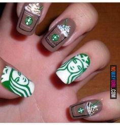 You might be addicted to Starbucks if your nails look like this. Which I am. I love Starbucks