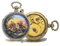 LOUIS AUDEMARS, BRASSUS & GENEVA-- LARGE GILT METAL ENAMEL AND SPLIT PEARL-SET CENTER SECONDS QUARTER --REPEATING MUSICAL   CIRCA 1860--- Sotheby's