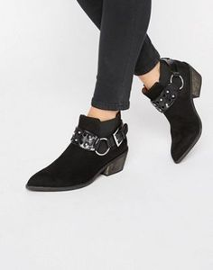London Rebel Western Ankle Boots