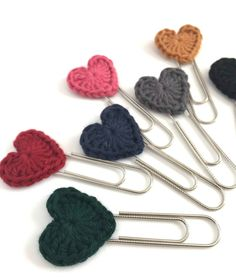 Items similar to set of 3 crochet hearts paper clip bookmarks - planner paper clips - journaling bible tabs - planner accessories - planner clips - jewel colors on Etsy, Paperclip Bookmarks, Crochet Bookmarks, Crochet Gifts, Easy Crochet, Yarn Projects, Crochet Projects, Dark Red Roses, Knitting Patterns, Crochet Patterns