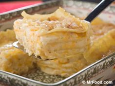 Lazy Man's Pierogis?! absolutely delicious! -Layers of Noodles, Seasoned Mashed Potatoes, Onions, Butter, Cheese.