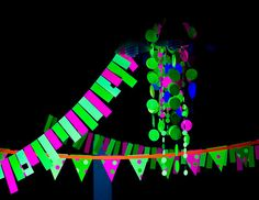 Glow in the Dark Party Banners and Streamers - by Sweet Lemon Designs on Etsy Skate Party, Neon Party, Disco Party, Neon Crafts, Kid Crafts, Glow Stick Crafts, Glow In Dark Party, 13th Birthday Parties, Birthday Ideas
