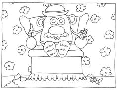 Mr. Potato Head Couch Potato - Funny Adult Coloring Page by Chubby Art Cartoons DIY Printable Coloring Pages. Watch tv & color like a potato by ChubbyArtCartoons on Etsy