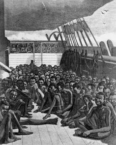 The Africans of the Slave Bark Credit: Library of Congress Media type: engraving Museum Number: LC-USZ62-41678 Annotation: African slaves on the deck of the slave ship Wildfire Year: 1860