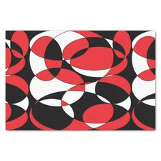 Black, white and red elliptical tissue paper 10 x 15 tissue paper by Khoncepts.com with matching gift bag