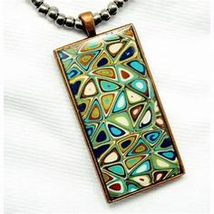 Polymer clay jewelry mixed media necklace ceramic beads and
